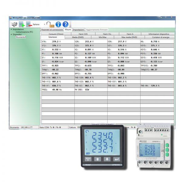 Software WintoolNET per analizzatori di rete trifase