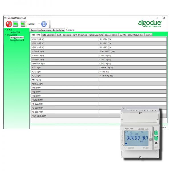 Modbus master software for energy meters